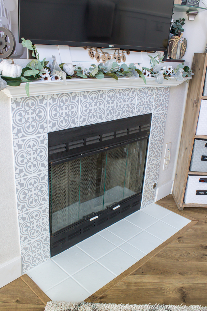 DIY Stenciled Tile Fireplace Simply Beautiful By Angela