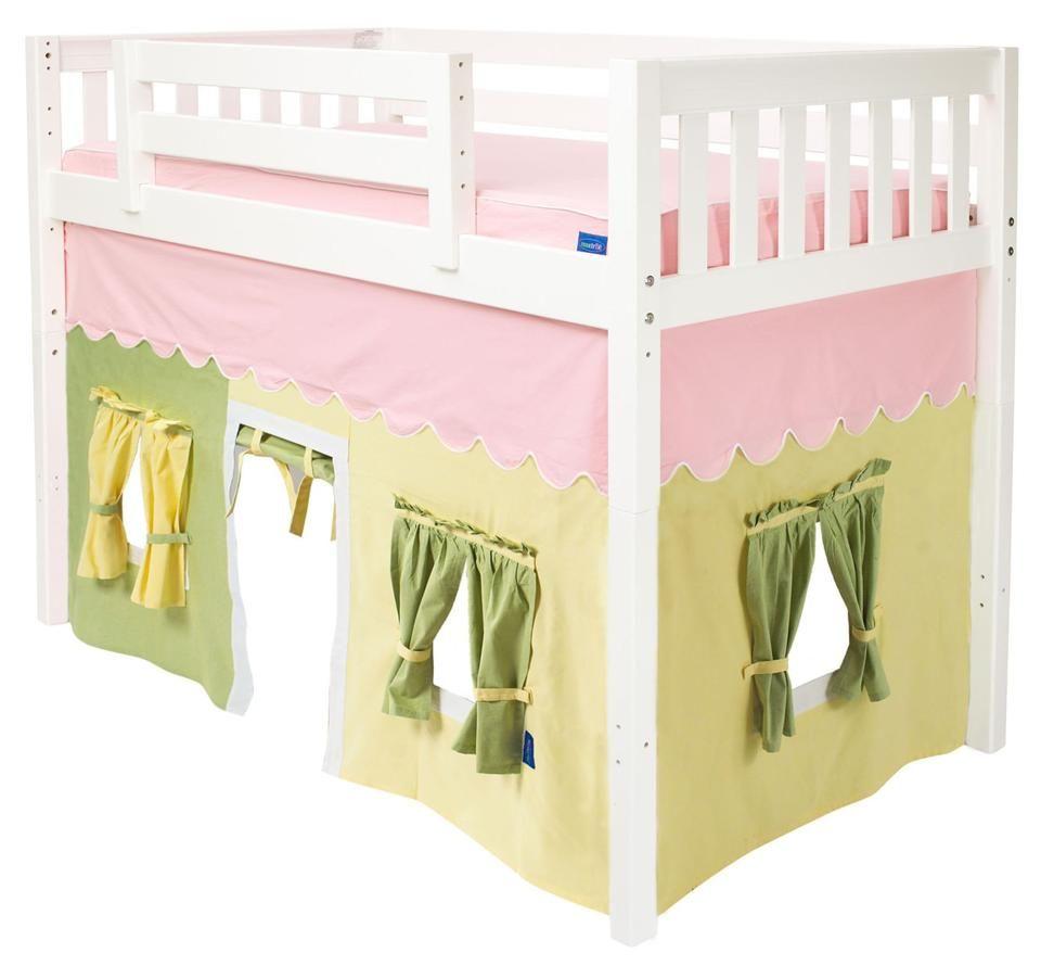 Loft bed ideas kids  Kids Mid Loft Bed Curtain in  Cotton Fabric  Loft bed ideas