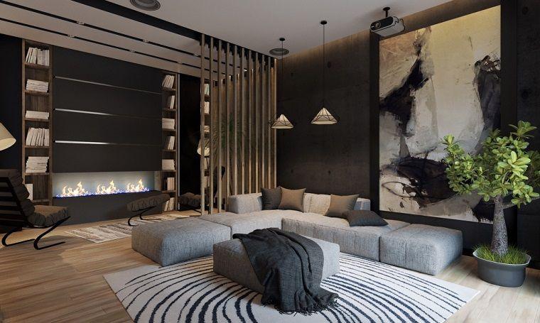 Salotti moderni e un\'idea di arredamento con un divano imbottito di ...