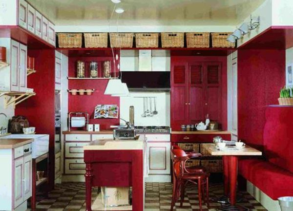 rote-küchen-wandfarbe-gemütliches-ambiente R E D Pinterest - rote kuche gelbe wand