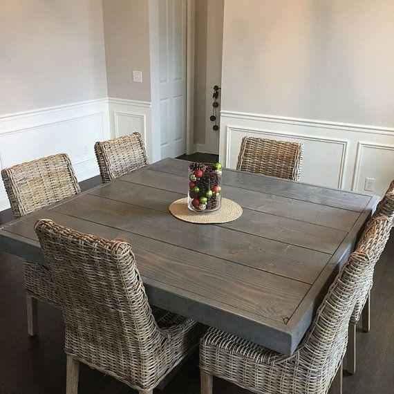 50 Modern Farmhouse Dining Room Decor Ideas 35: Farm House Table, Dining Table, Square Farm Table, Square