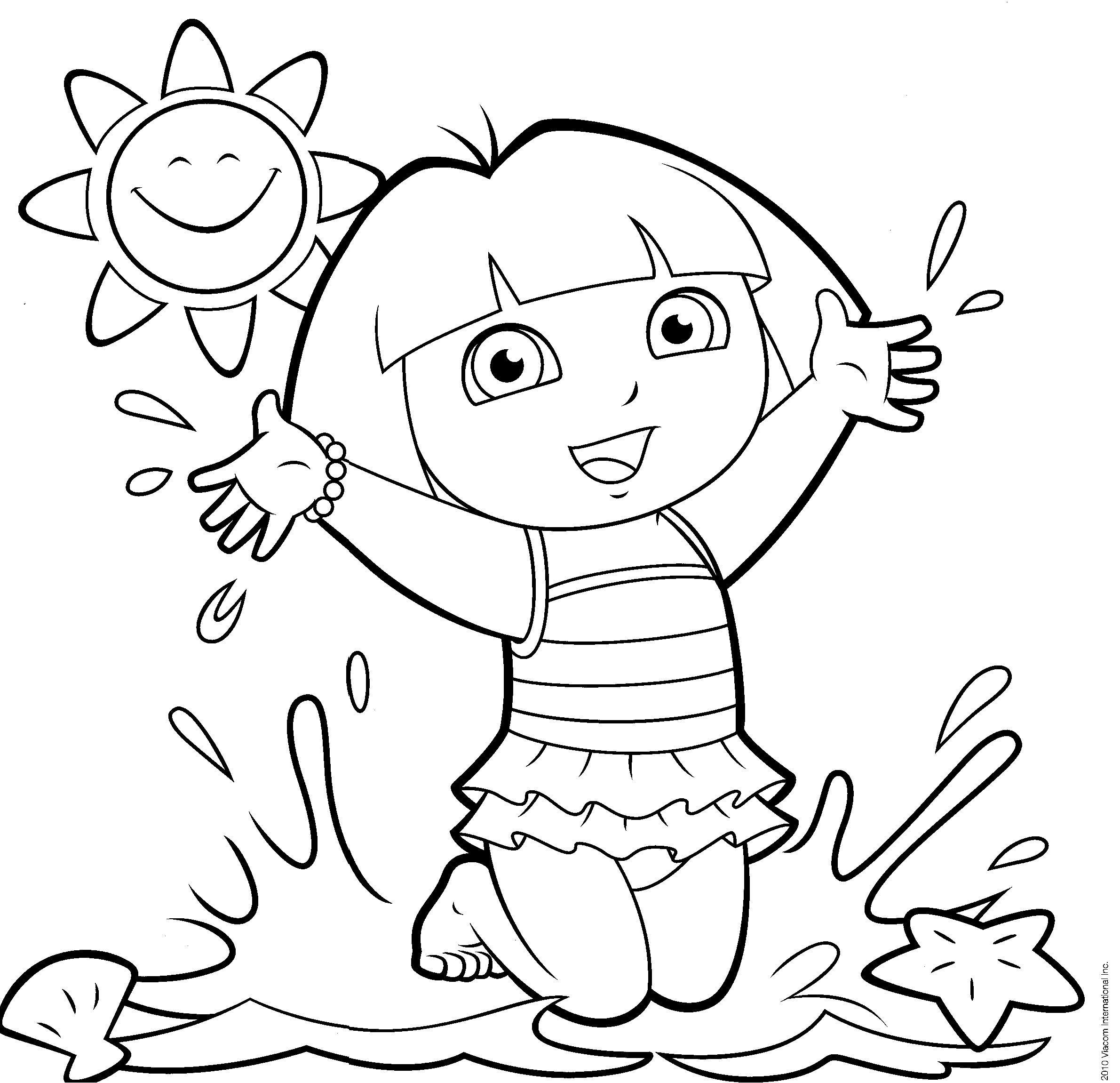 dora the explorer coloring pages 卡通 pinterest