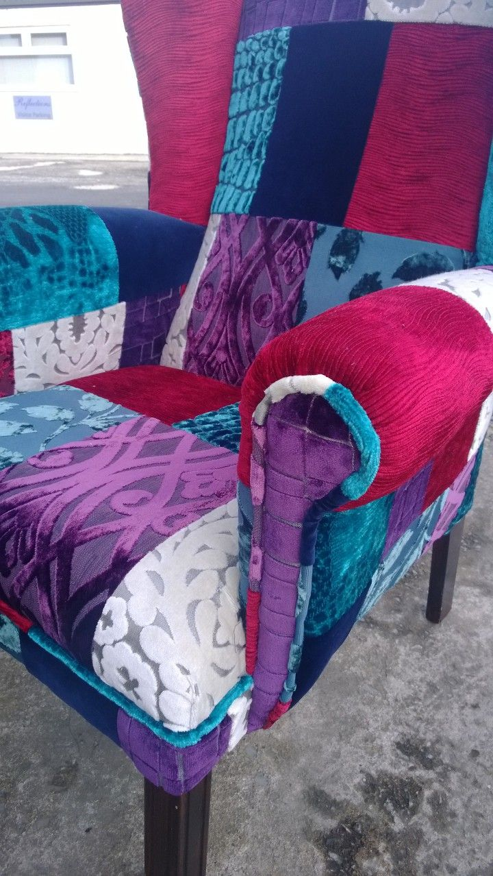 Patchwork chair. teals blue red & cream Ikea chair