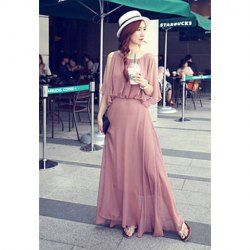 $13.99 Charming Solid Color Ruffle Beam Waist Chiffon Party Dress For Women. This is so pretty.