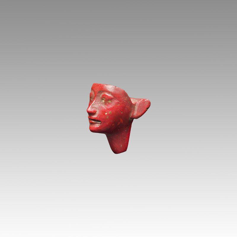 Red Jasper Head. Egyptian Period : New Kingdom, 1295-1070 B.C.
