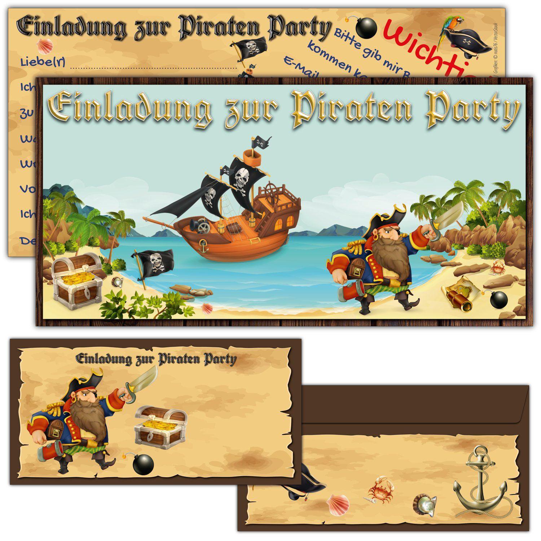 12 Kindergeburtstag Einladungskarten Piraten Geburtstagseinladungen Schatz Pirat