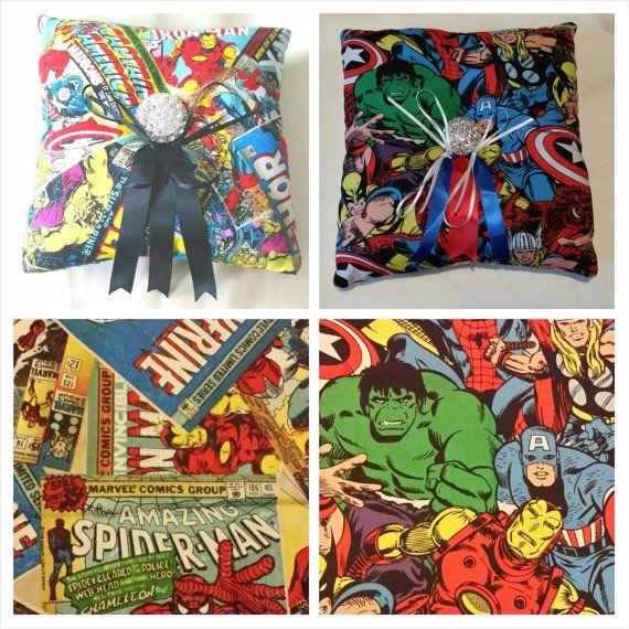 Matrimonio Tema Marvel : Marvel hereos comic themed wedding ring pillow you choose
