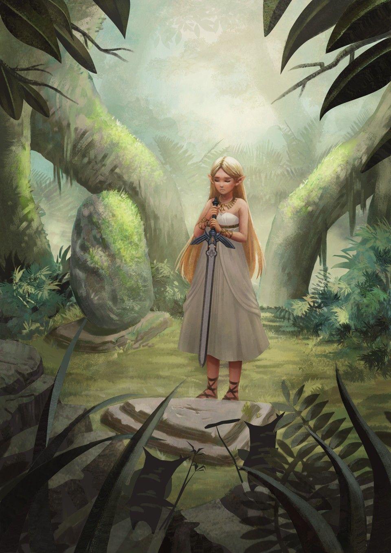 Legend Of Zelda Breath Of The Wild Art Princess Zelda And The Master Sword Koroks Botw By Paula Nicodin On Zelda Master Sword Zelda Art Legend Of Zelda
