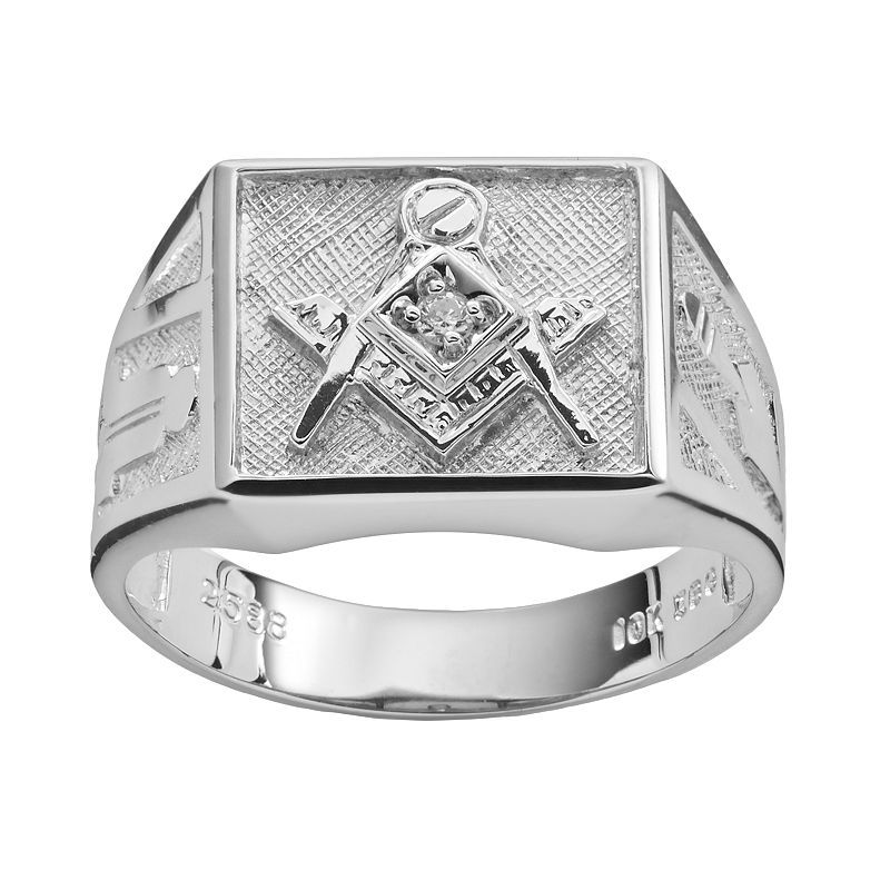 Sterling Silver Diamond Accent Masonic Ring - Men, Size: 12, White