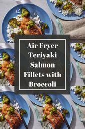 Air Fryer Teriyaki Salmon Fillets with Broccoli - #broccoli #fillets #fryer #salmon #teriyaki - #new #salmonteriyaki