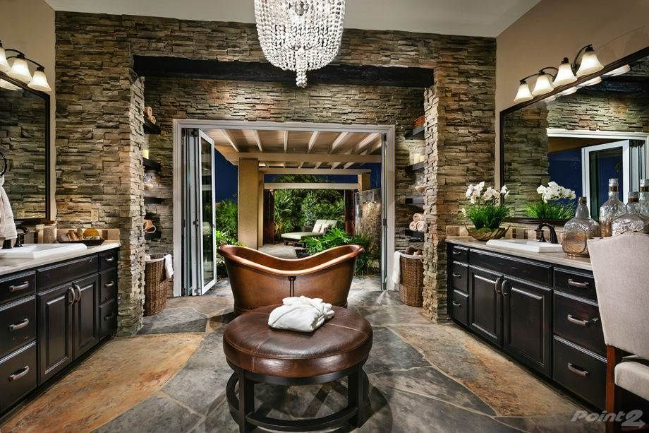 Traditional Master Bathroom with Limestone Tile, Drop-In Sink ...