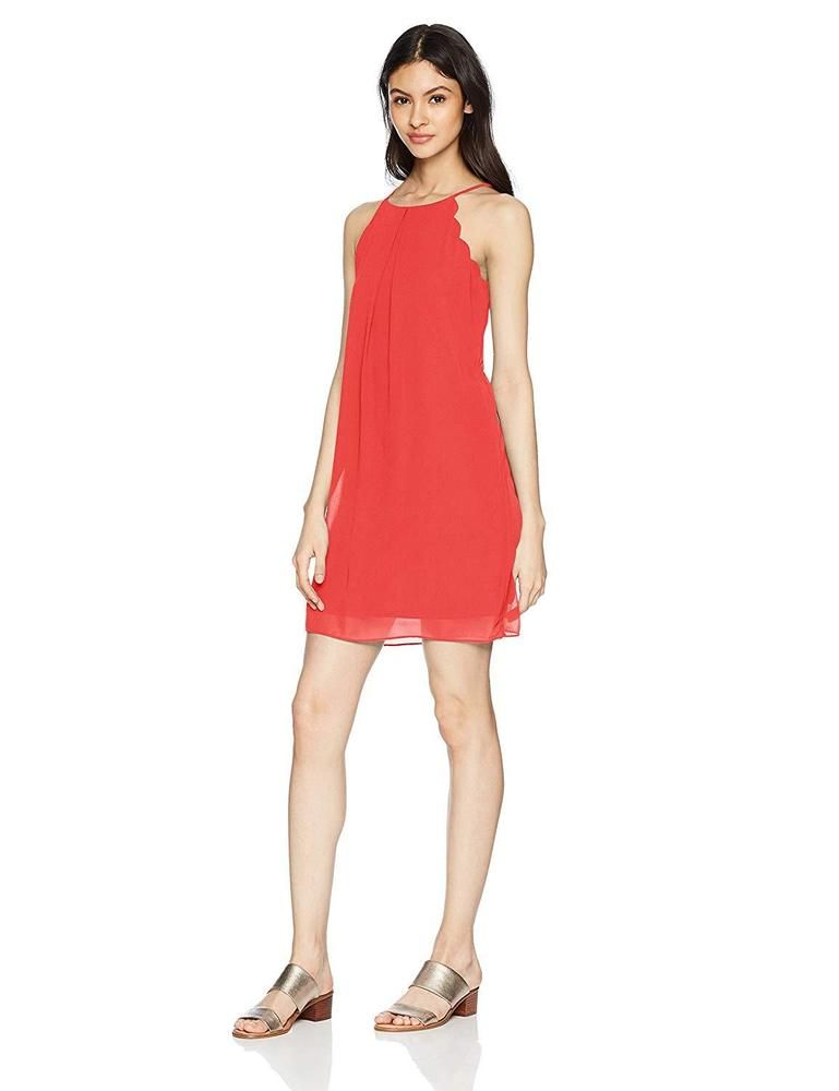 A Byer Juniors Sleeveless Swingy Dress W// Lining and Necklace