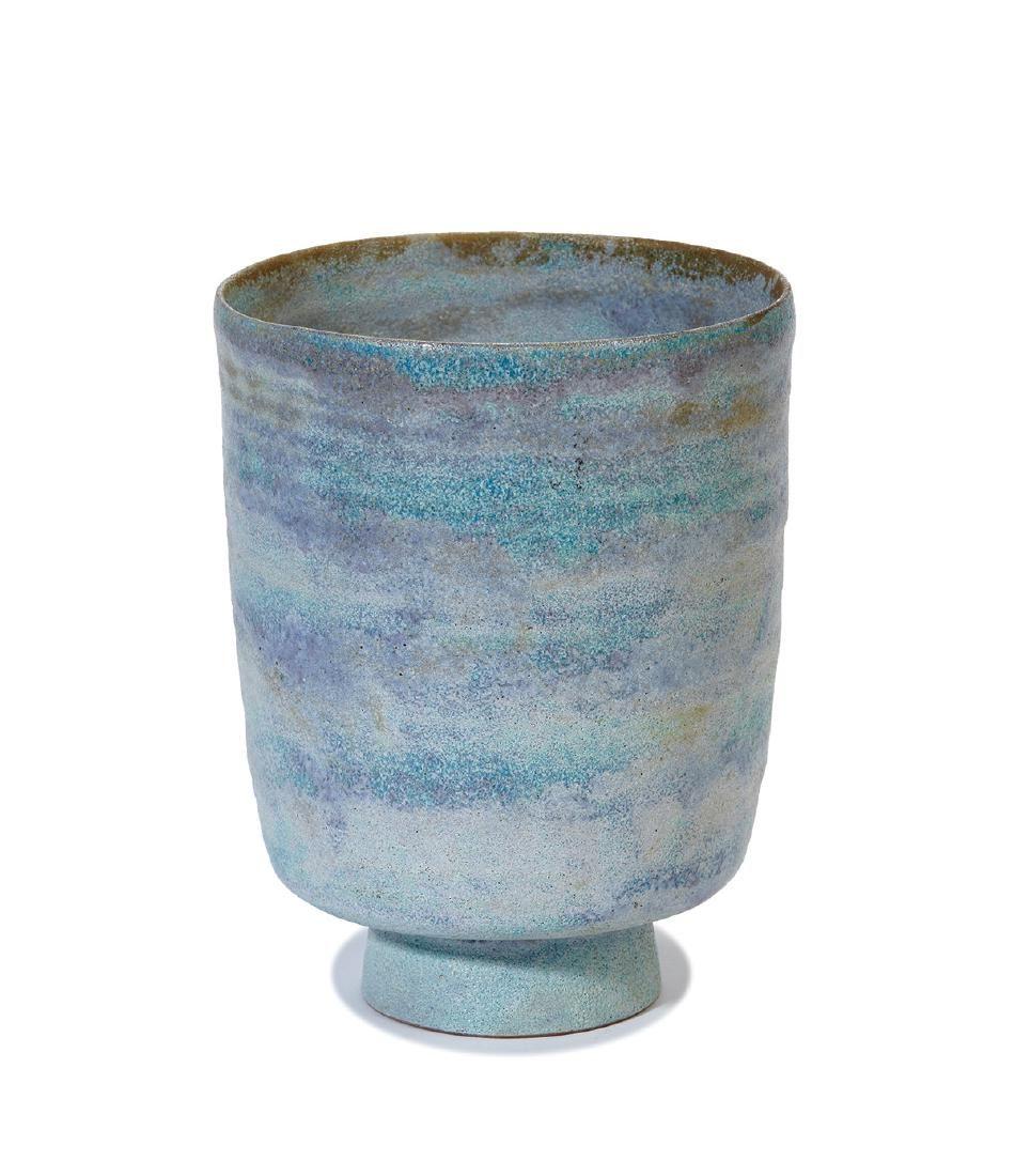 Gertrud & Otto Natzler Cylindrical vase on a conical base. Studio executed 1940. Natzler archives identification #954. Lavender glazed ceramic