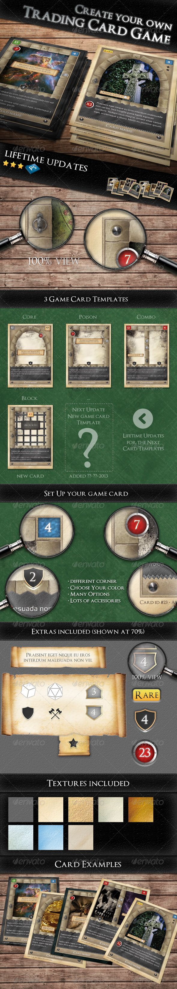 Tcg  Fantasy Trading Card Game Kit In Medieval  Print Templates