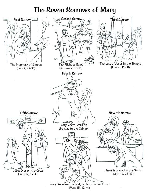 The Seven Sorrows Of Mary Printable Coloring Page For Children