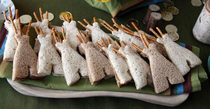 teepee sandwiches with pretzel stick poles