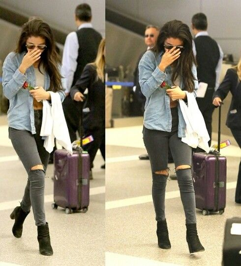 Selena Gomez Airport Fashion style 2014 ripped jeans and crop top