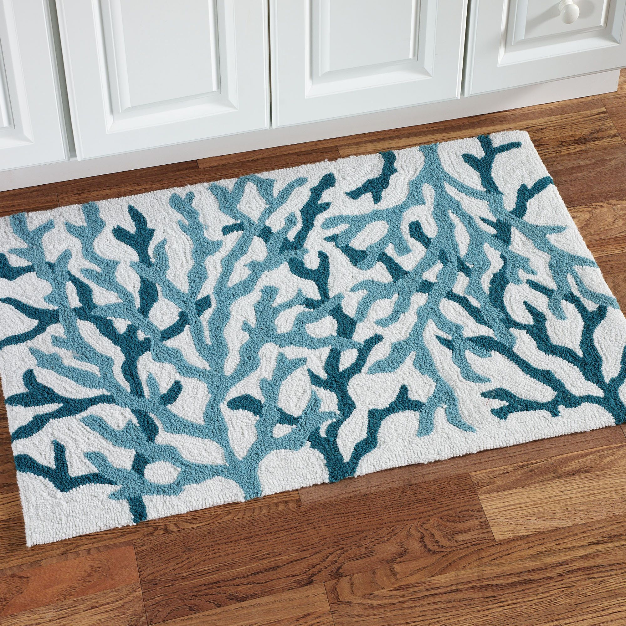 Cora Blue Coral Coastal Hooked Accent Rug Accent Rugs Coral And - Coral color bathroom rugs for bathroom decorating ideas