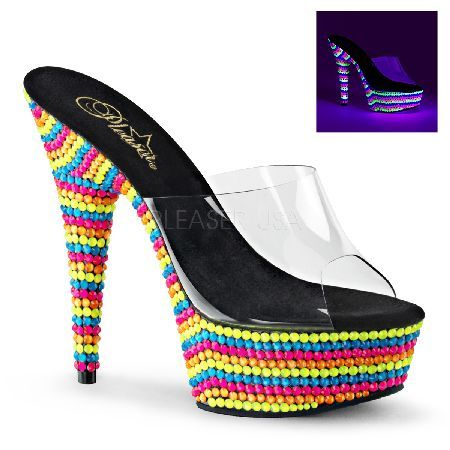 Pleaser Shoes Delight-601RBS Slip-On Mules UV Brightly coloured mules with front platform, sexy 6 inch (15 cm) stiletto high heels, clear wide strap in front, open toe and soft black cushioning for comfortable wear. The high platform and the high http://www.MightGet.com/january-2017-12/pleaser-shoes-delight-601rbs-slip-on-mules-uv.asp
