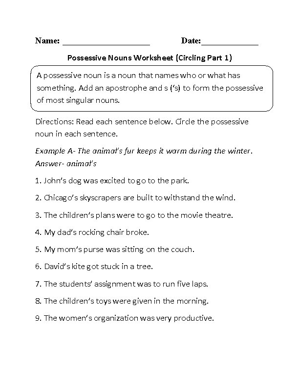 ReWriting Possessive Nouns Worksheet WRITING – Singular Possessive Nouns Worksheets