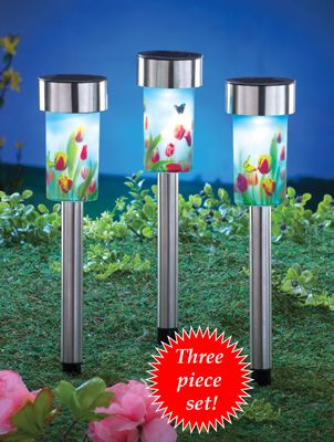 Solar Floral Tulip Garden Light Stakes Set Of 3
