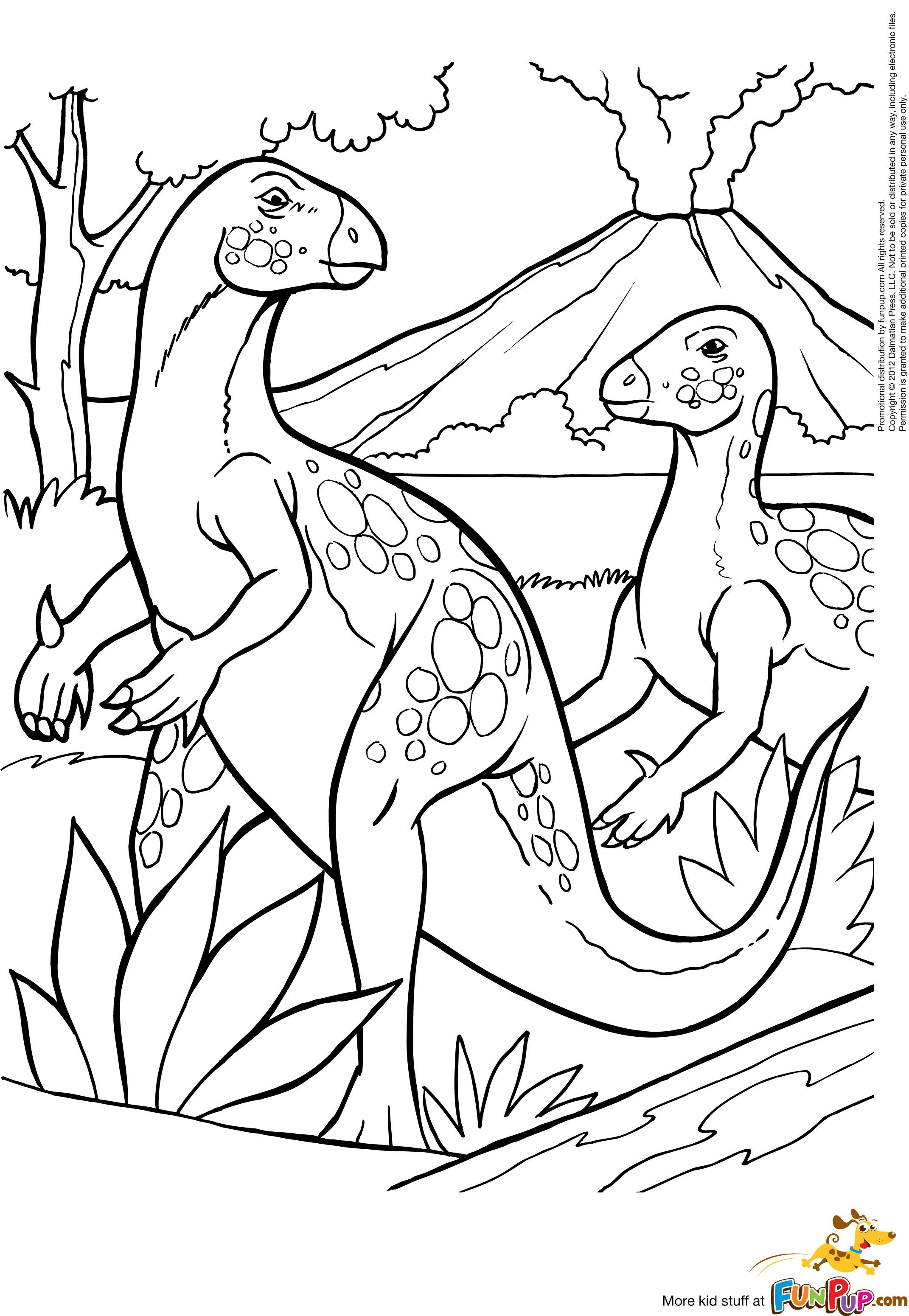 Dinosaurs with Volcano 0.00 Coloring pages nature