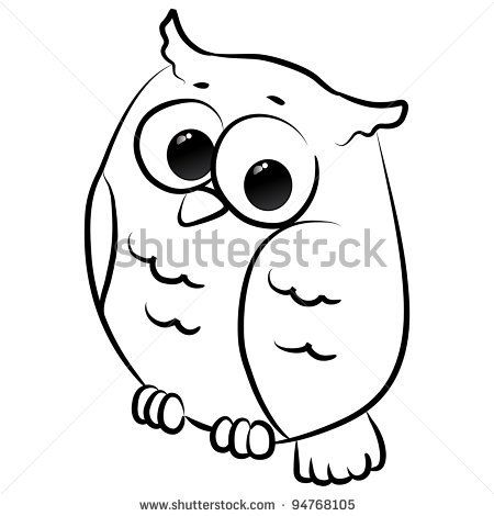 stock vector : cute little owl cartoon, line art, coloring