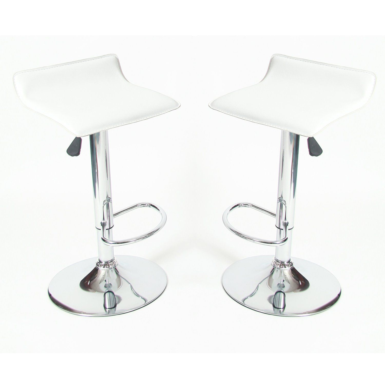 Roundhill Contemporary Chrome Air Lift Adjule Swivel Stools With White Seat