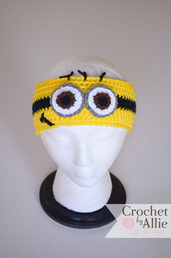 Minion Headband, earwarmer, Despicable Me, Yellow, Crochet By Allie ...