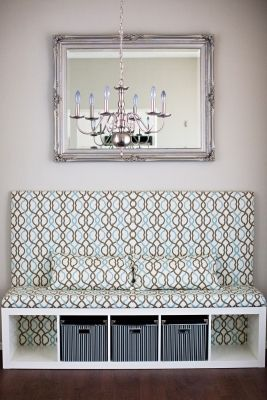 Brilliant Ikea hack: DIY living room banquetteGive your dining room a minimal effort makeover with this stylish DIY banquette. Melo Drama shows how you can turn an EXPEDIT shelving unit and KASSETT boxes into a pretty upholstered centerpiece.