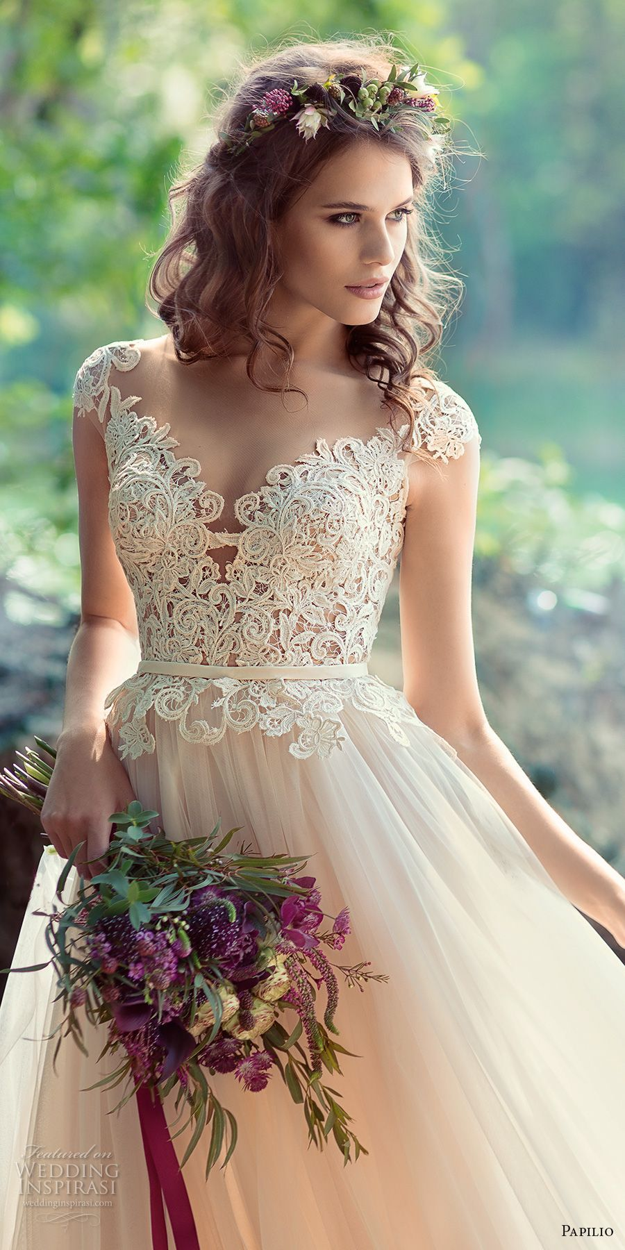 Papilio bridal cap sleeves sweetheart neckline heavily