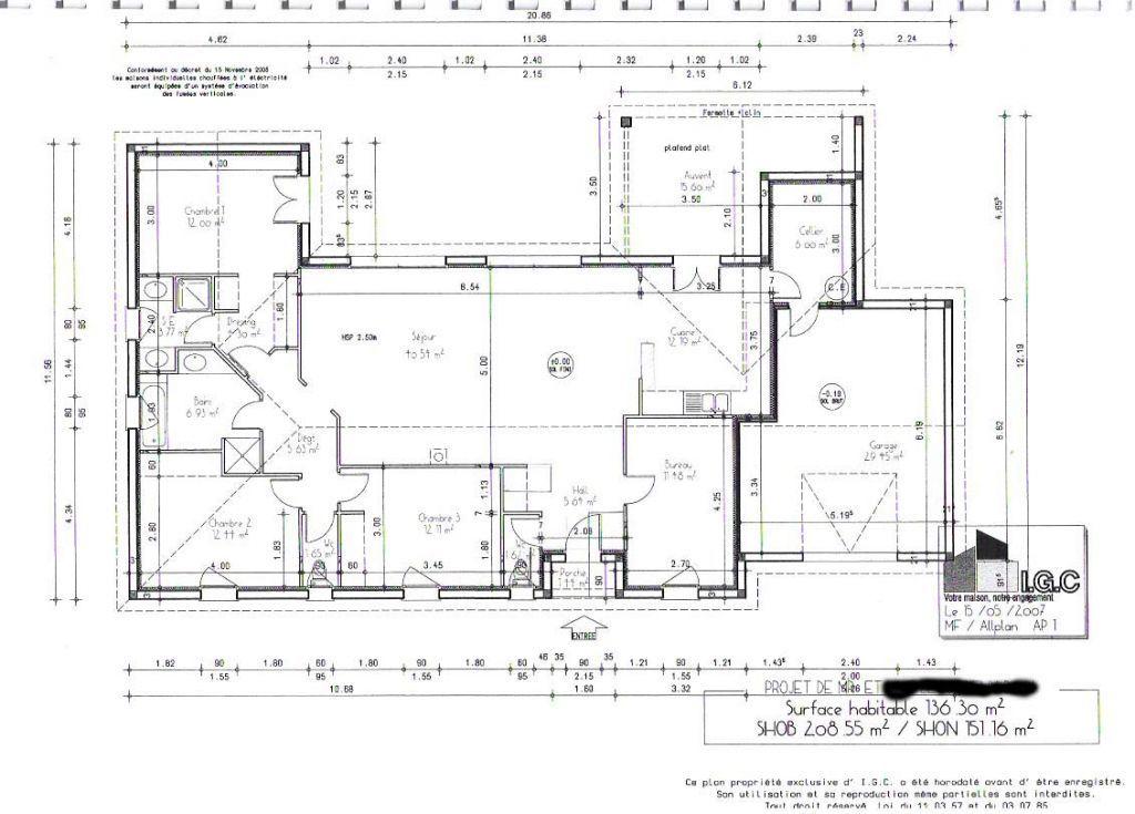 Plan maison plain pied 150m2 My place Pinterest Construction