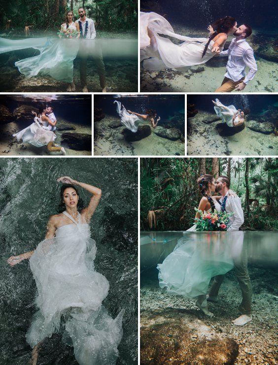 Amazing Underwater Wedding Photography Mermaid Inspired Rainforest Wedding A Princess Inspired B Underwater Wedding Wedding Photoshoot Beach Wedding Photos