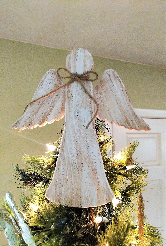 Angel Christmas Tree Topper Rustic Wood Angel Wooden Angel Etsy Christmas Tree Topper Rustic Diy Tree Topper Diy Christmas Tree Topper