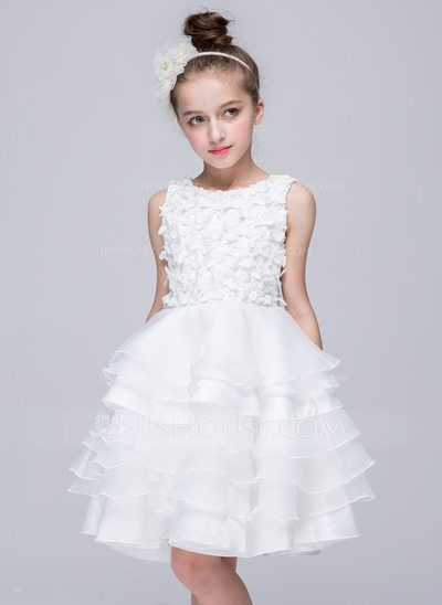 3aa6baaa2316 [US$ 27.99] A-Line/Princess Knee-length Flower Girl Dress - Polyester Sleeveless  Scoop Neck With Appliques (010091262)