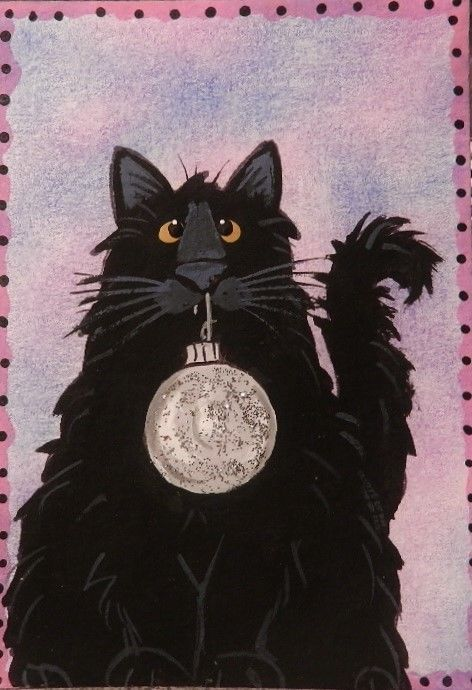 CAT ACEO Holiday Black Cat Silver sparkly ornament-  -  by Pryjmak