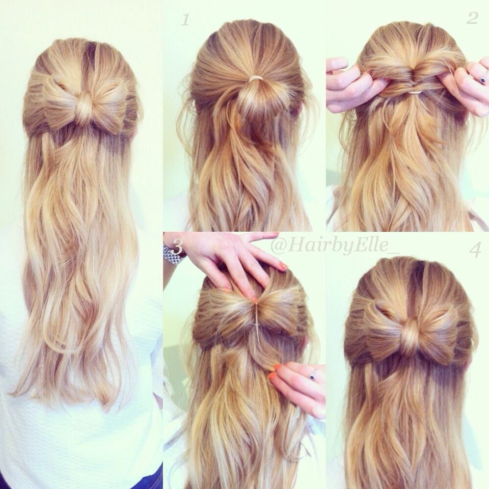 Easy tutorial for the half up bow hairstyle instagram hairbyelle