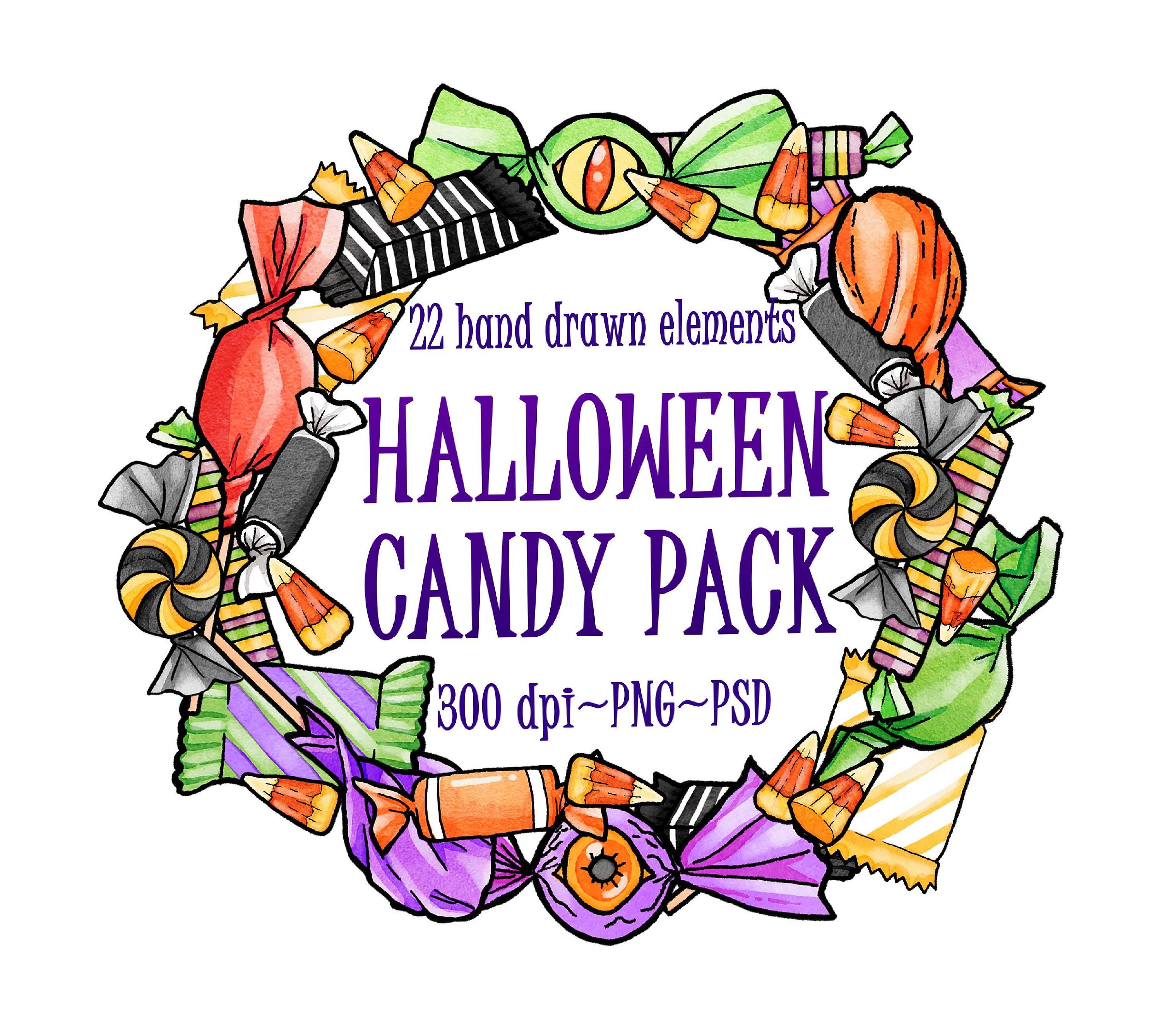 Watercolor Halloween Candy. Halloween Party Clipart. Candy