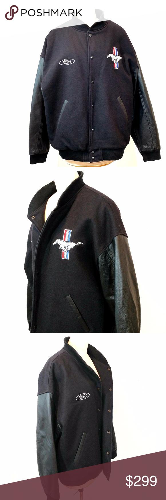 Vintage Ford Mustang Wool Leather Varsity Jacket Leather Varsity Jackets Clothes Design Fashion Design