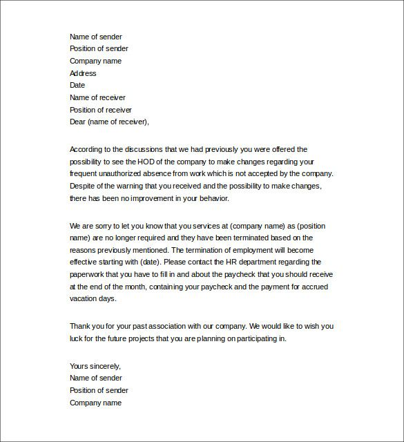 sample termination letters job download terminating employee due bad - best of business letter format without name