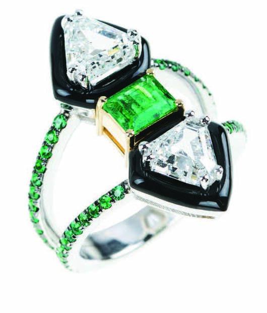 New engagement ring with black enamel from Nikos Koulis