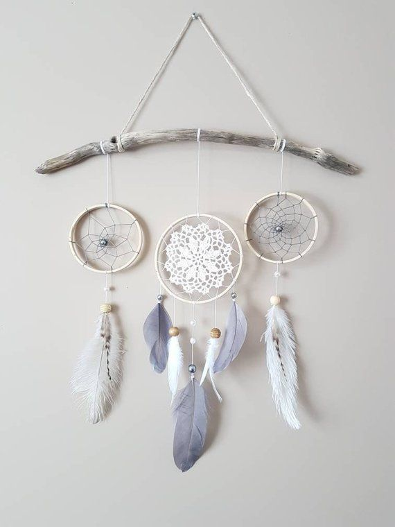 Feather Dream Catcher Wall Hanging-Grey White Dream Catcher-Gray Nursery Decor-Baby Room Wall Decor-Gender Neutral Nursery Decor-Boho Decor #dreamcatchers