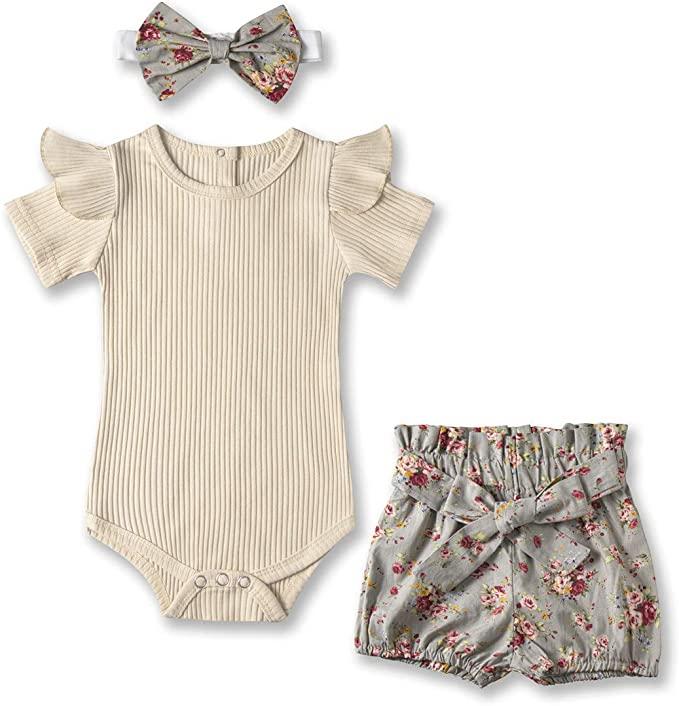 Kionio Baby Girl Clothes Outfits Ruffle Long Sleeve Shirt Tops Bodysuit Romper Floral Pants Headband 3PCS Infant Girls Sets