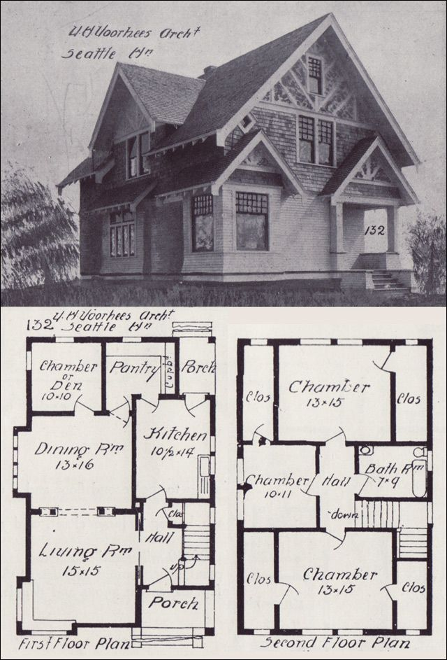 Seattle Homes Tudor Style House Plan Design No 132 1908 Western Home Builder Victor W Voorhees Craftsman House Cottage Plan Vintage House Plans