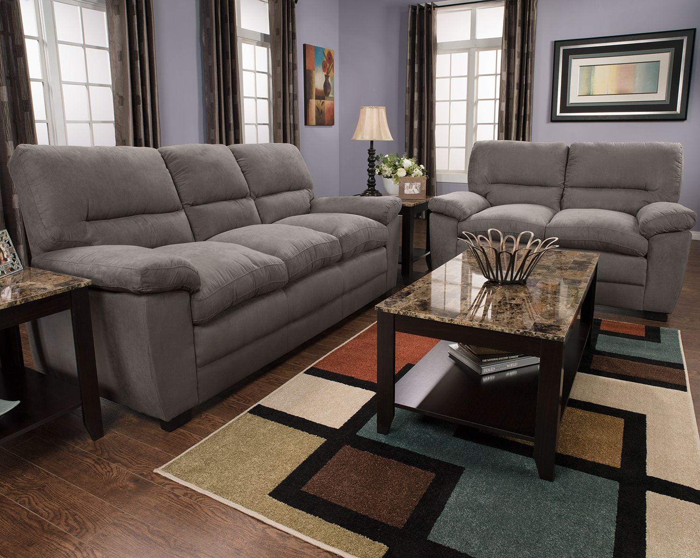 Magnificent Peyton Microsuede Sofa Grey Decorating Ideas Sofa Theyellowbook Wood Chair Design Ideas Theyellowbookinfo