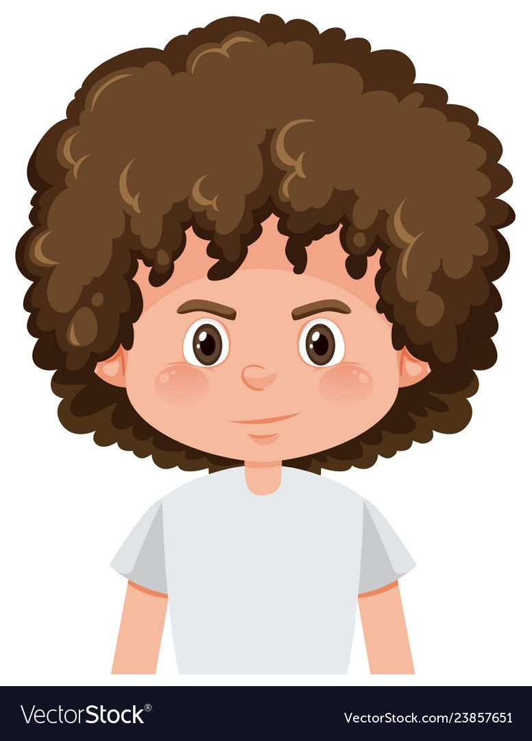 A Brunette Boy Curly Hairstyle Vector Image On Vectorstock In 2020 Boys With Curly Hair Curly Hair Styles Hair Vector