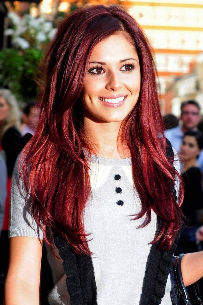 Cheryl Cole Red Burgundy Hair Hair Makeup And Hair Coloring