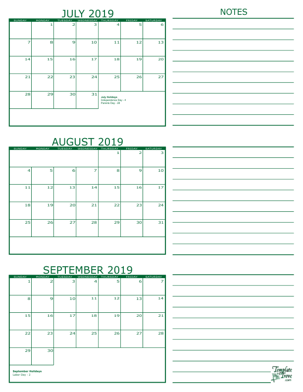 3 month calendar 2019 july august september