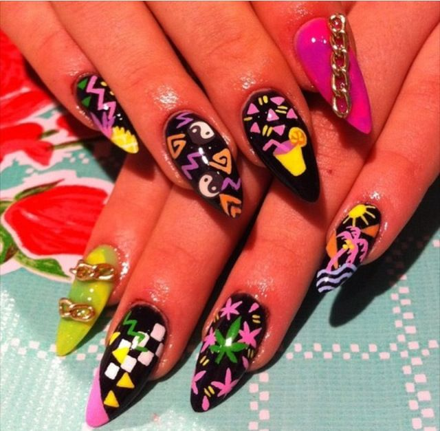 122 Nail Art Designs That You Won T Find On Google Images: Miami Vice Nails = Dope Nail Design Ideas= Nail Swag