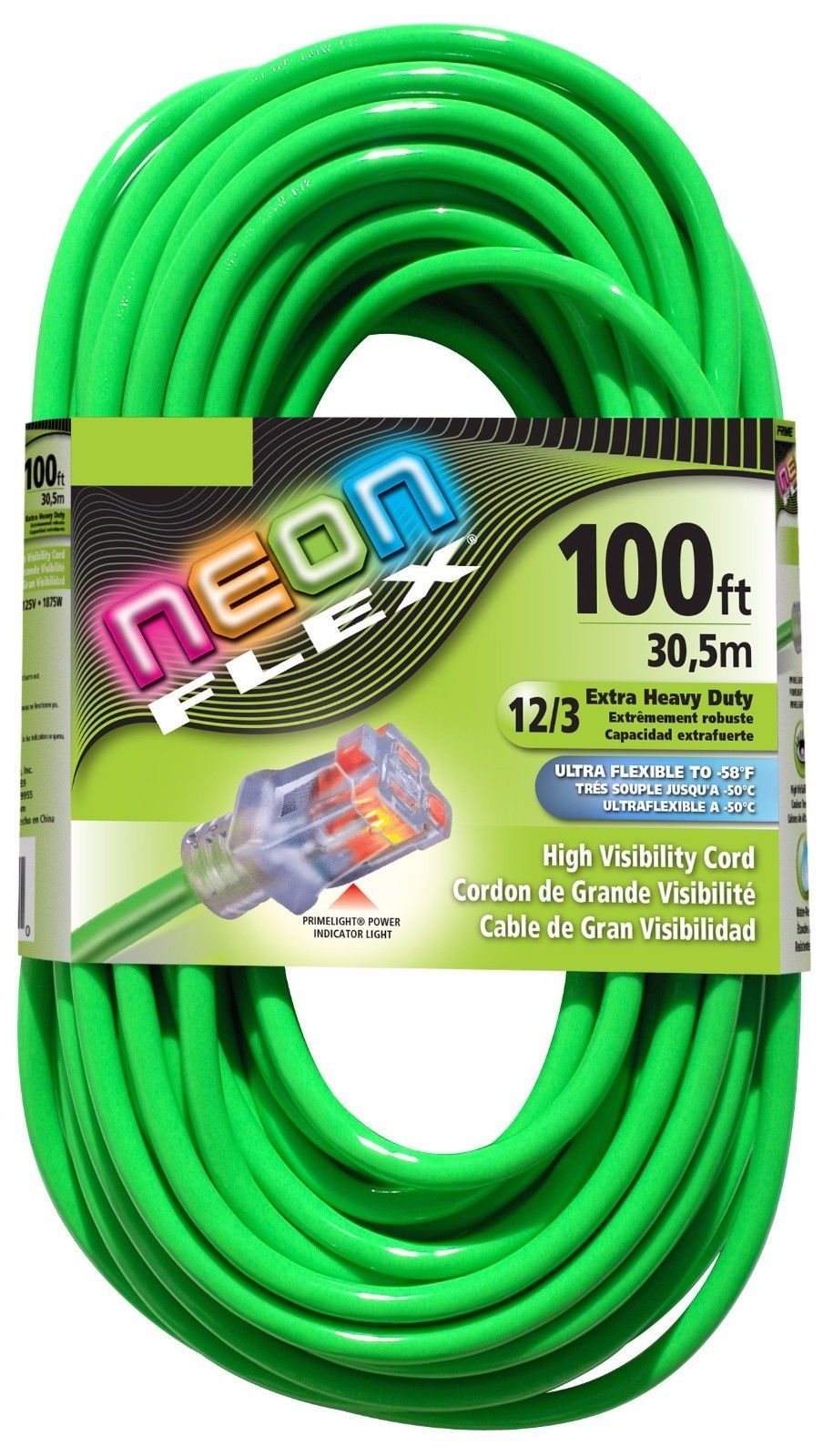 100 12 Gauge Lime Green Sjtw Extension Cord W Lighted End Ul Outdoor Extension Cord Extension Cord Cord